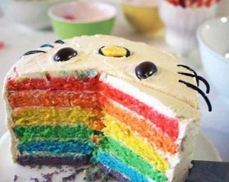 ideas hello kitty tarta arcoiris