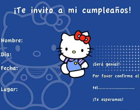invitaciones cumpleaños hello kitty azul