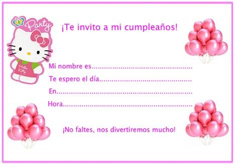 invitaciones cumpleaños hello kitty globos