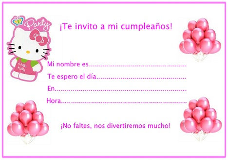 Invitaciones De Cumple De Kitty Hello Kitty En Mundokitty Com