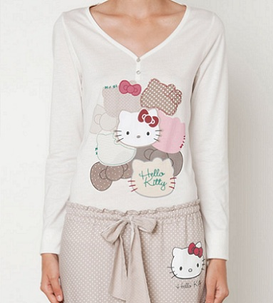 pijamas hello kitty oysho otoño lunares