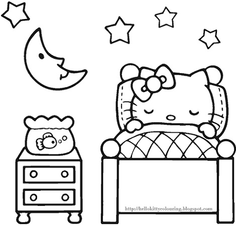 6 dibujos de hello kitty para imprimir gratis durmiendo