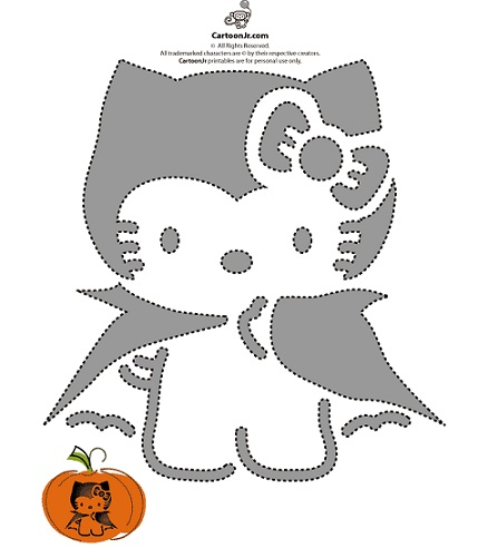 calabaza halloween hello kitty plantilla 1  - Calabazas Halloween Hello Kitty