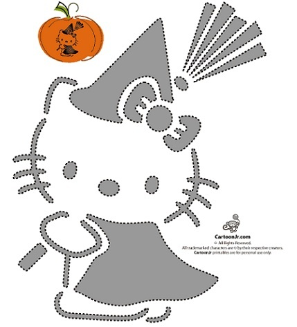 calabazas halloween hello kitty plantilla 2  - Calabazas Halloween Hello Kitty