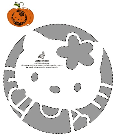 calabaza halloween hello kitty plantilla 3  - Calabazas Halloween Hello Kitty