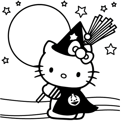 Colorear hello kitty halloween for Hello kitty coloring pages halloween