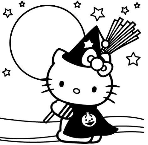 colorear hello kitty halloween bruja