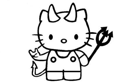colorear hello kitty halloween diablo