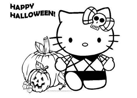 colorear hello kitty halloween monster high