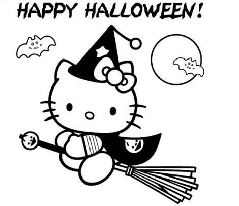 colorear hello kitty halloween
