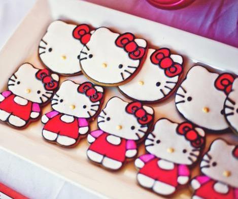 cumpleaños hello kitty rosa cookies