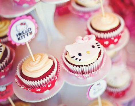 cumpleaños hello kitty rosa cupcakes
