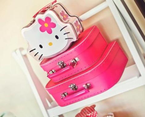 cumpleaños hello kitty rosa maletas