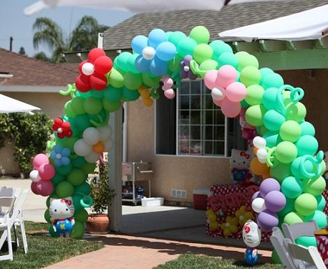cumpleaños un año hello kitty globos  - Cumpleaños de un año de Hello Kitty