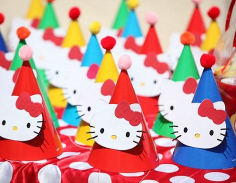 cumpleaños un año hello kitty gorros  - Cumpleaños de un año de Hello Kitty