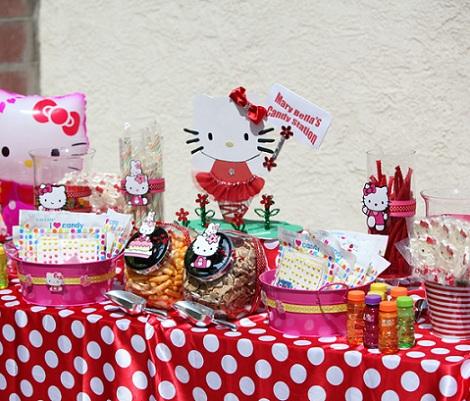 cumpleaños un año hello kitty mesa  - Cumpleaños de un año de Hello Kitty