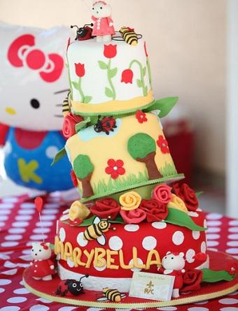 cumpleaños un año hello kitty tarta  - Cumpleaños de un año de Hello Kitty