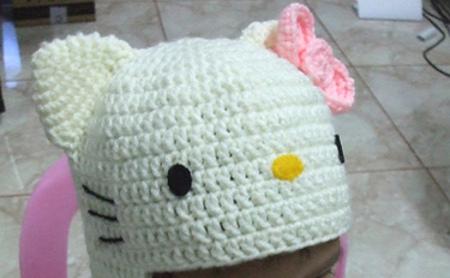 gorro hello kitty crochet 2