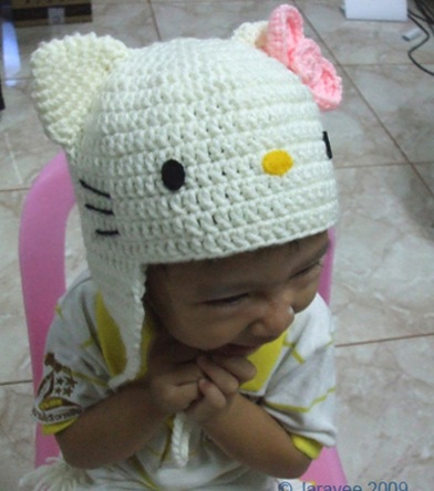gorro hello kitty crochet