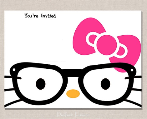 hello kitty invitaciones gafas