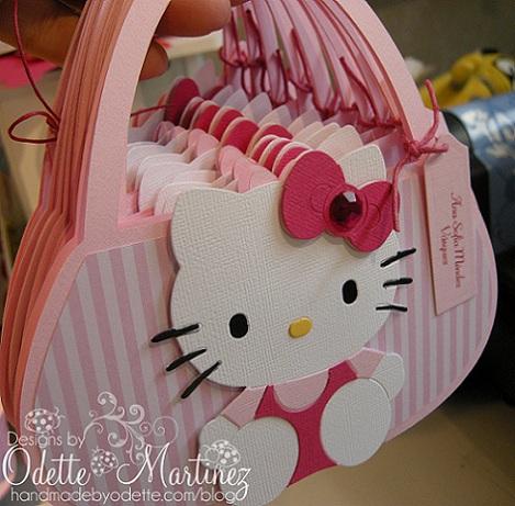 invitaciones cumpleaños hello kitty caseras bolso