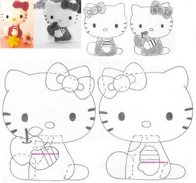 Patrones Hello Kitty; Hello Kitty cuerpo con manzana