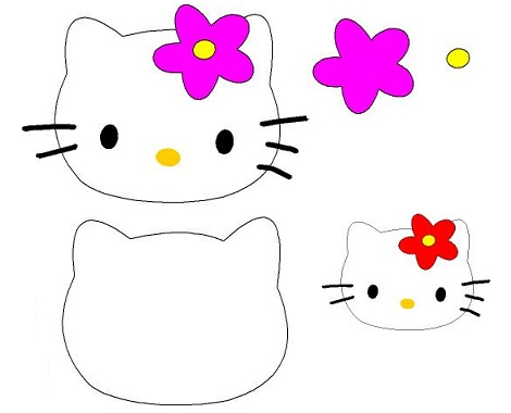 Patrones Hello Kitty; cabeza Hello Kitty con flor