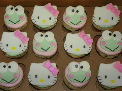 cupcakes de hello kitty keroppi  - Cupcakes de Hello Kitty