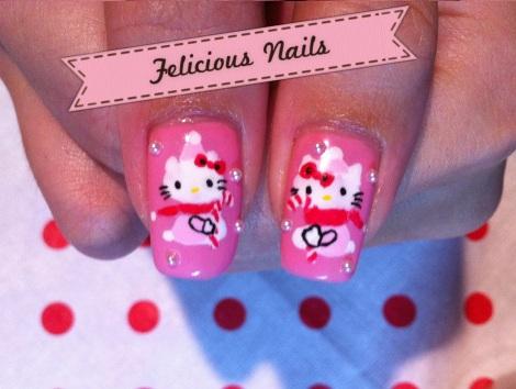 decoracion uñas hello kitty navidad rosas muñeca