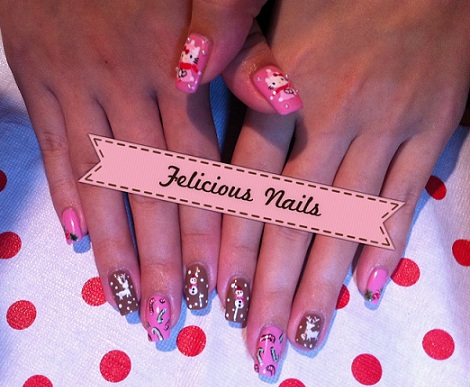 decoracion uñas hello kitty navidad rosas