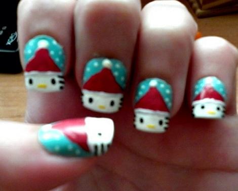 decoracion uñas hello kitty navidad verdes