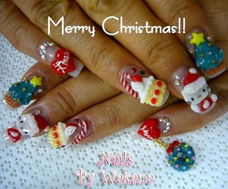 decoracion uñas hello kitty navidad