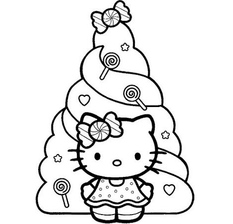 dibujos navidad hello kitty arbol