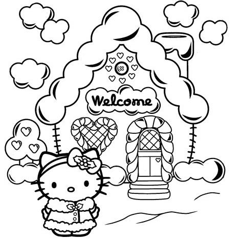 dibujos navidad hello kitty casita