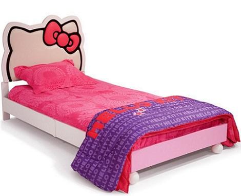 habitacion hello kitty niña cama  - Habitación de Hello Kitty para niña