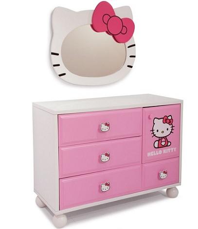 habitacion hello kitty niña espejo