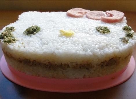 pastel arroz hello kitty resultado  - Pastel de arroz de Hello Kitty