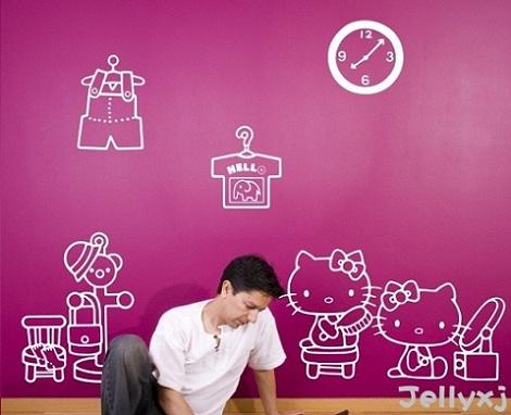 vinilos hello kitty blanco  - Vinilos de Hello Kitty para habitación de niña
