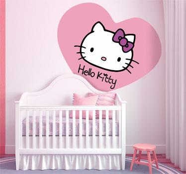 vinilos hello kitty corazon  - Vinilos de Hello Kitty para habitación de niña