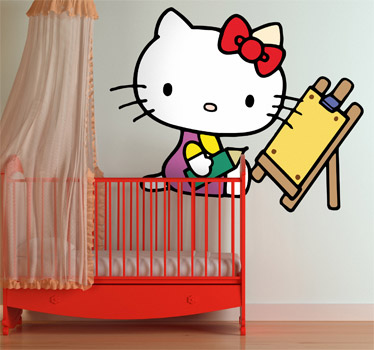 vinilos hello kitty pintora  - Vinilos de Hello Kitty para habitación de niña