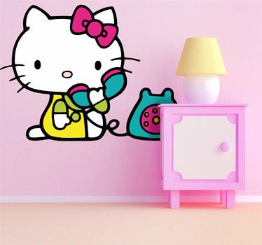 vinilos hello kitty telefono  - Vinilos de Hello Kitty para habitación de niña